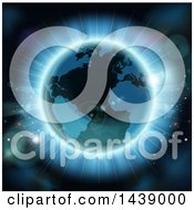Clipart Of A 3d Planet Earth With Bright Rays And Flares Royalty Free Vector Illustration
