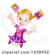 Clipart Of A Happy Blond White Girl Jumping Royalty Free Vector Illustration