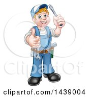 Clipart Of A Cartoon Full Length Happy White Male Electrician Holding Up A Screwdriver And Thumb Royalty Free Vector Illustration by AtStockIllustration