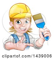 Clipart Of A Cartoon Happy White Female Painter Holding Up A Brush And Pointing Royalty Free Vector Illustration