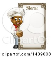 Clipart Of A Happy Young Black Male Chef Giving A Thumb Up Around A Menu Board Royalty Free Vector Illustration