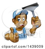 Clipart Of A Cartoon Happy Black Male Window Cleaner In Blue Giving A Thumb Up And Holding A Squeegee Royalty Free Vector Illustration