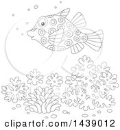 Cartoon Black And White Lineart Puffer Blow Fish Over Corals