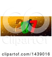 Clipart Of A 3d New Year 2017 Number Design Over Golden Text In Different Languages Royalty Free Illustration