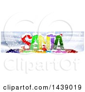 Colorful Word SANTA In The Snow