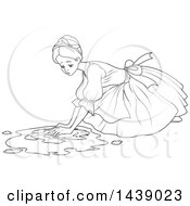 Clipart Of A Black And White Lineart Scene Of Cinderella As A Maid Scrubbing A Floor Royalty Free Vector Illustration