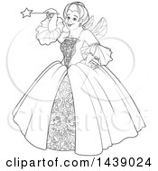 Clipart Of A Black And White Lineart Fairy Godmother Holding Up Her Magic Wand Royalty Free Vector Illustration by Pushkin