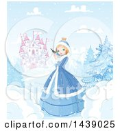 Clipart Of A Princess In A Winter Landscape Holding A Bird With Castle In The Background Royalty Free Vector Illustration