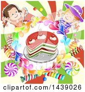 Clipart Of A Cake In A Circle Of Candy With Two Girls Over A Swirl Royalty Free Vector Illustration by merlinul