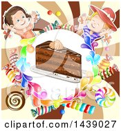 Slice Of Cake In A Circle Of Candy With Two Girls Over A Swirl