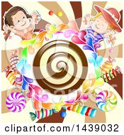 Chocolate Spiral In A Circle Of Candy With Two Girls Over A Swirl