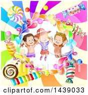 Clipart Of A Boy And Girls In A Circle Of Candy Over A Swirl Royalty Free Vector Illustration