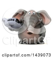 3d Elephant Character Holding A Plane On A White Background