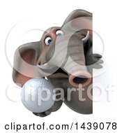 3d Elephant Character Holding A Golf Ball On A White Background