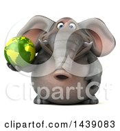 Clipart Of A 3d Elephant Character Holding A Green Earth Globe On A White Background Royalty Free Illustration