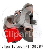 3d Elephant Character Holding A Shopping Or Gift Bag On A White Background