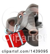 3d Elephant Character Holding A Gift On A White Background
