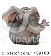 Clipart Of A 3d Elephant Character Meditating On A White Background Royalty Free Illustration