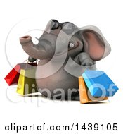 3d Elephant Character Carrying Shopping Bags On A White Background