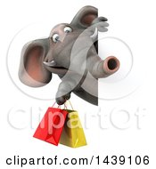 Clipart Of A 3d Elephant Character Carrying Shopping Bags On A White Background Royalty Free Illustration