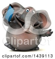 3d Elephant Character Holding A Smart Phone On A White Background