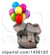 Poster, Art Print Of 3d Elephant Character Holding Party Balloons On A White Background
