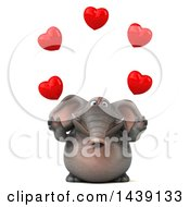 Poster, Art Print Of 3d Elephant Character Juggling Hearts On A White Background