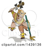 Clipart Of A Jaguar Aztec Warrior Charging With A Weapon And Shield In Hand Royalty Free Vector Illustration