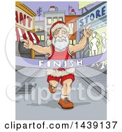 Clipart Of A Runner Santa Breaking Through A Finish Line Royalty Free Vector Illustration