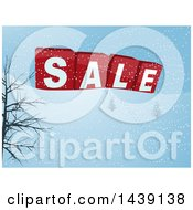 Clipart Of A Winter Landscape With 3d SALE Blocks And A Trail Of Footprints In The Snow Royalty Free Vector Illustration by elaineitalia
