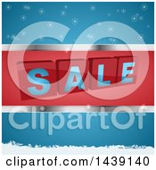 Clipart Of 3d SALE Blocks In A Red And Silver Frame Over Blue With Snowflakes Royalty Free Vector Illustration by elaineitalia
