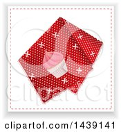 Clipart Of A Red Polka Dot Handkerchief With A Cupcake Royalty Free Vector Illustration