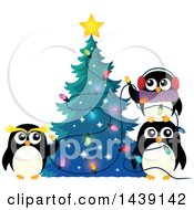 Clipart Of A Festive Penguin Family Decorating A Christmas Tree Royalty Free Vector Illustration by visekart