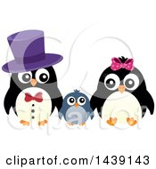 Clipart Of A Penguin Family Royalty Free Vector Illustration by visekart