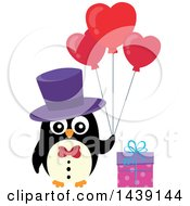 Male Penguin With A Gift And Valentine Heart Balloons