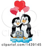 Poster, Art Print Of Penguin Family On Ice With Valentine Heart Shaped Balloons