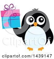 Clipart Of A Penguin Holding A Valentien Gift Royalty Free Vector Illustration
