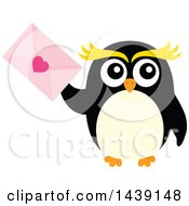 Clipart Of A Male Penguin Holding A Valentine Love Letter Royalty Free Vector Illustration