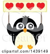 Poster, Art Print Of Penguin Holding Up A Valentine Heart Banner