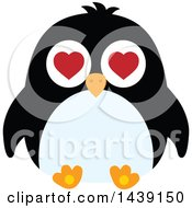 Clipart Of A Male Penguin Valentine Heart Eyes Royalty Free Vector Illustration