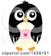 Clipart Of A Male Penguin Holding A Love Letter Or Valentine Royalty Free Vector Illustration