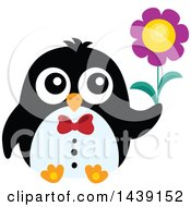 Poster, Art Print Of Romantic Male Penguin Holding A Flower