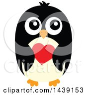 Poster, Art Print Of Male Penguin Holding A Heart