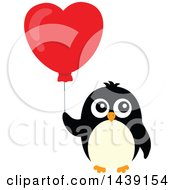 Clipart Of A Penguin With A Valentine Heart Balloon Royalty Free Vector Illustration