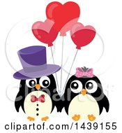 Clipart Of A Penguin Couple With Valentine Heart Balloons Royalty Free Vector Illustration