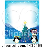 Border With A Festive Penguin Family Decorating A Christmas Tree