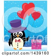 Poster, Art Print Of Male Penguin With A Gift And Valentine Heart Balloons