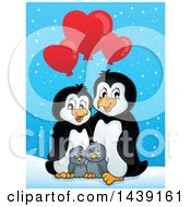 Penguin Family With Valentine Heart Shaped Balloons