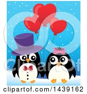 Penguin Couple With Valentine Heart Balloons In The Snow