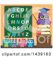 Clipart Of A Professor Owl And Students In A Class Room Pointing To An Alphabet Chalkboard Royalty Free Vector Illustration by visekart